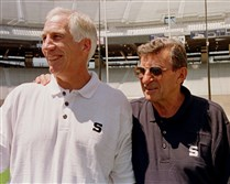 Then-Penn State head football coach Joe Paterno, right, poses with his then-defensive coordinator Jerry Sandusky in a 1999 photo at University Park, Pa. Loyalists of the late football coach pressed the Penn State board last week to share specifics in additional abuse claims against Sandusky, a convicted pedophile, arguing an open assessment would clear up speculation that has damaged the school and Mr. Paterno's legacy.
