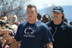 Penn State's Brendan Mahon and Garrett Sickels arrived for the Blue-White Game Saturday afternoon. Mahon took home the offense's spring practice award for most improved player while Sickels was honored for his work at defensive end.