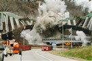 The Greenfield Bridge is demolished in a controlled explosion over the Parkway East in Greenfield on December 28, 2015.