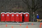 Six porta-potties sit near North Park Boathouse.