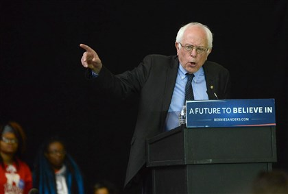 Bernie Sanders addresses the crowd during a rally for the Democratic presidential candidate at the David L. Lawrence Convention Center.
