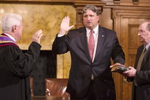Bruce Beemer is sworn in by state Supreme Court Chief Justice Thomas G. Saylor as Pennsylvania's new attorney general during a ceremony Tuesday in Harrisburg.