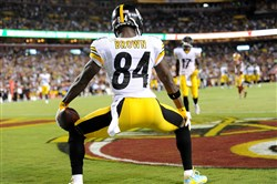 Antonio Brown twerks after scoring in the third quarter Monday night.